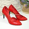 Стильные женские туфли на шпильке, натуральная красная кожа, фото 4