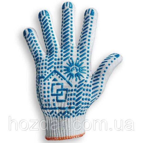 """Робочі щільні рукавички ХБ з ПВХ малюнком """"А""""кл. (105) білі"""