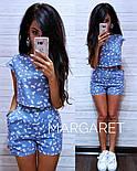 Женский стильный принтованый льняной костюм: топ и шорты (в расцветках), фото 6