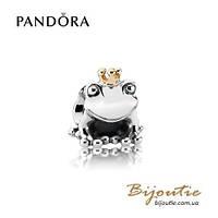 Pandora Шарм ЦАРЕВНА ЛЯГУШКА #791118 серебро 925 золото 14к  Пандора оригинал