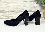 Замшевые синие женские туфли на устойчивом высоком каблуке. , фото 3