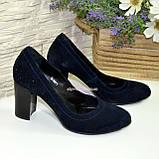 Замшевые синие женские туфли на устойчивом высоком каблуке. , фото 4