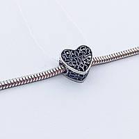 Серебряное украшение Шарм cердце в камнях, фото 1