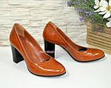 Кожаные женские туфли рыжего цвета на устойчивом высоком каблуке. , фото 7
