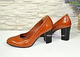Кожаные женские туфли рыжего цвета на устойчивом высоком каблуке. , фото 8
