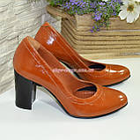 Кожаные женские туфли рыжего цвета на устойчивом высоком каблуке. , фото 5