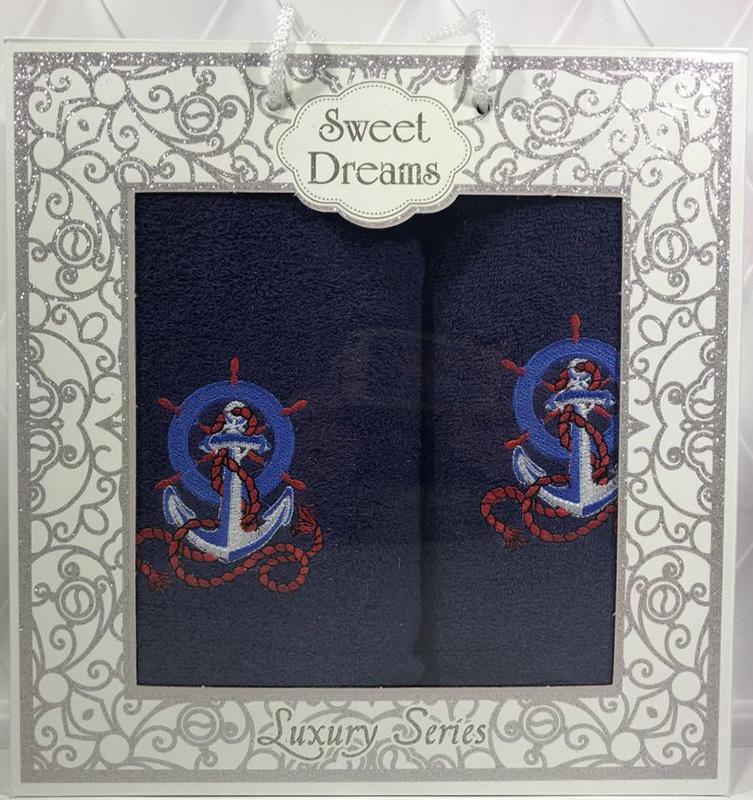 Набор 2 махровых полотенца Sweet Dreams M3 (50х90 и 70х140см) темно-синие с вышивкой