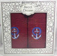 Набор 2 махровых полотенца Sweet Dreams M3 (50х90 и 70х140см) красные с вышивкой