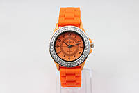 Женские часы Geneva Женева оранжевые с камешками Luxury(Люксури), фото 1