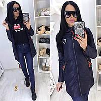 Женская стильная удлиненная куртка на молнии, фото 1