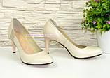 Женские классические кожаные бежевые туфли на шпильке!, фото 2