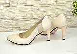 Женские классические кожаные бежевые туфли на шпильке!, фото 3