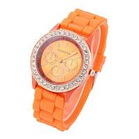 Женские часы Geneva Женева оранжевые с камешками Сваровски