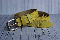 Ремень узкий женский желтый тонкий кожаный