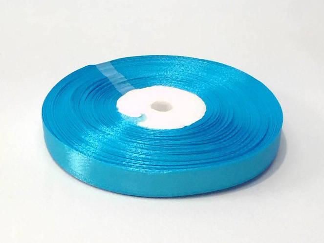 Лента атласная 1 см голубая 50 ярд.