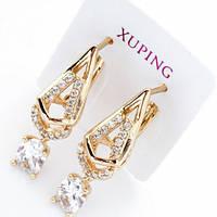 Красивые серьги Xuping. Золото (покрытие) 750 пробы