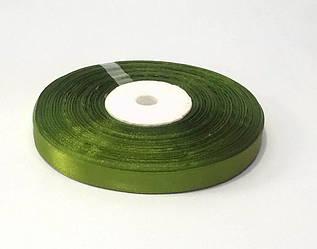 Лента атласная 1 см флористическая зеленая 46 м