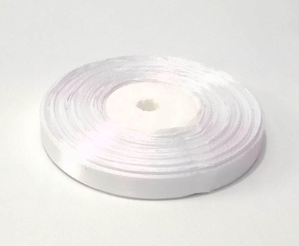Лента атласная 1 см белая 50 ярд.