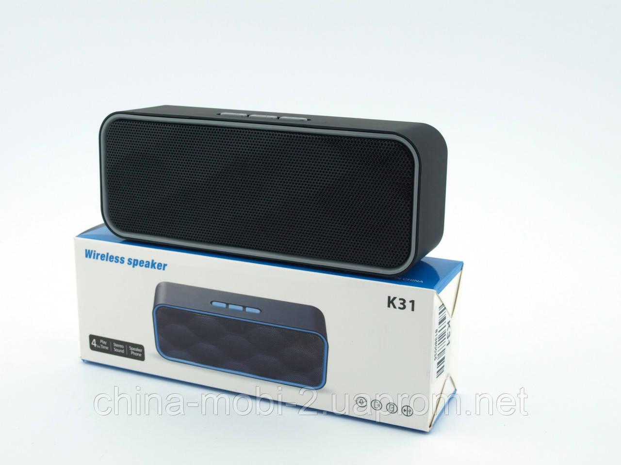 Беспроводная колонка SPS K31+BT (в стиле Xiaomi Mi Square Box) с FM/Bluetooth/MP3/USB/microSD, Black+gray