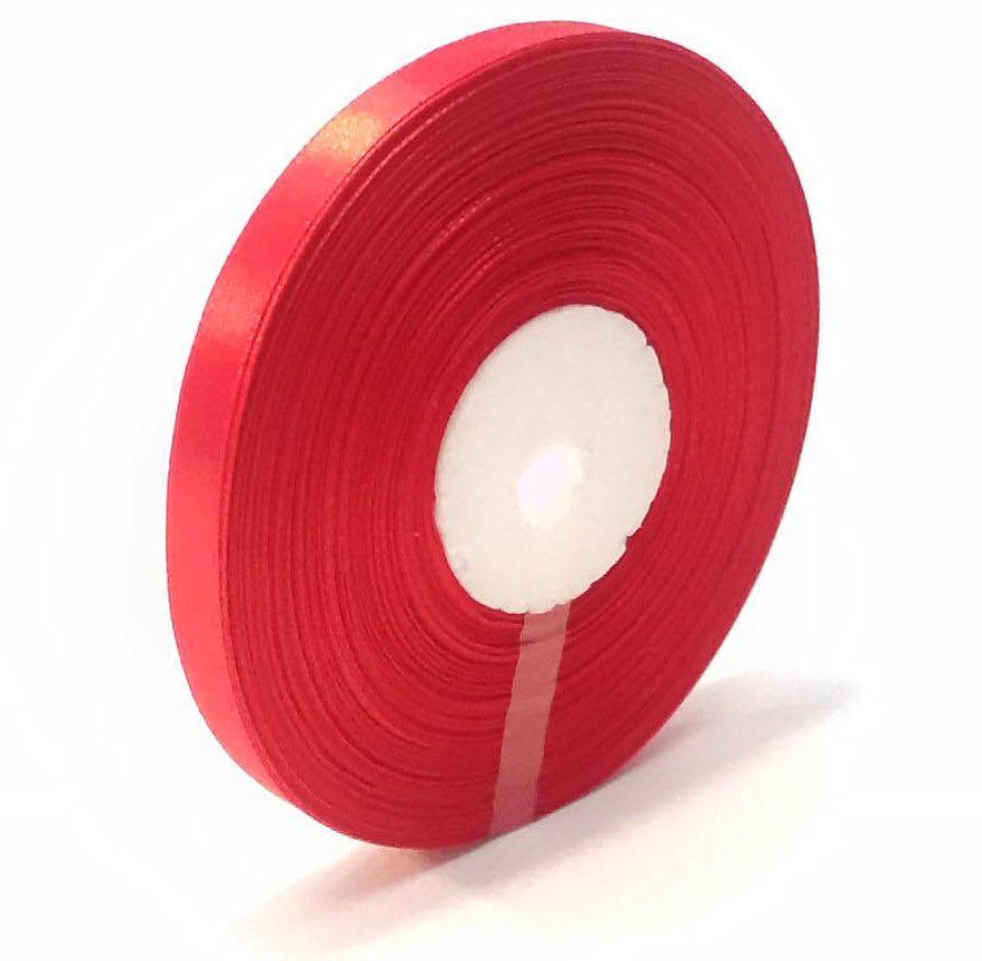 Лента атласная декоративная 1,6 см красная 50 ярд.