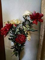 Цветы искуственные Пион красно-перламутровые с позолотой