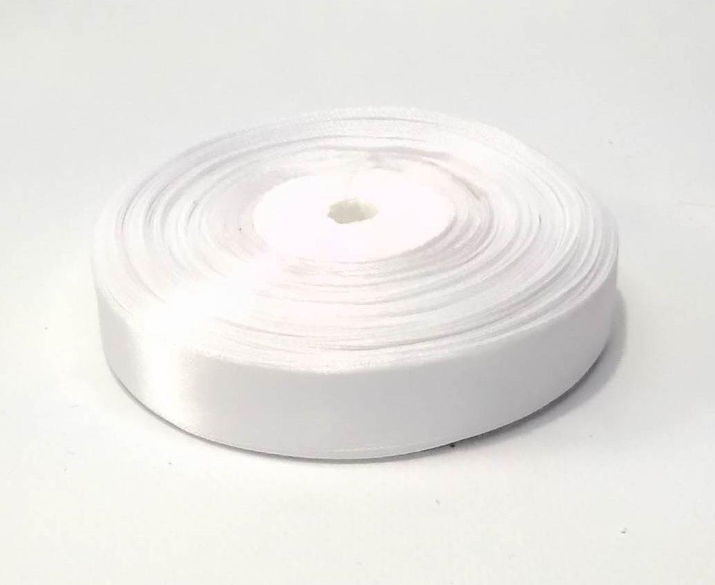 Лента атласная 2 см белая 50 ярд.