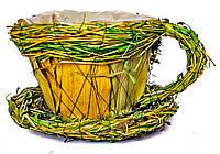Декоративная чашка для цветов (8132-3) 9х12 см