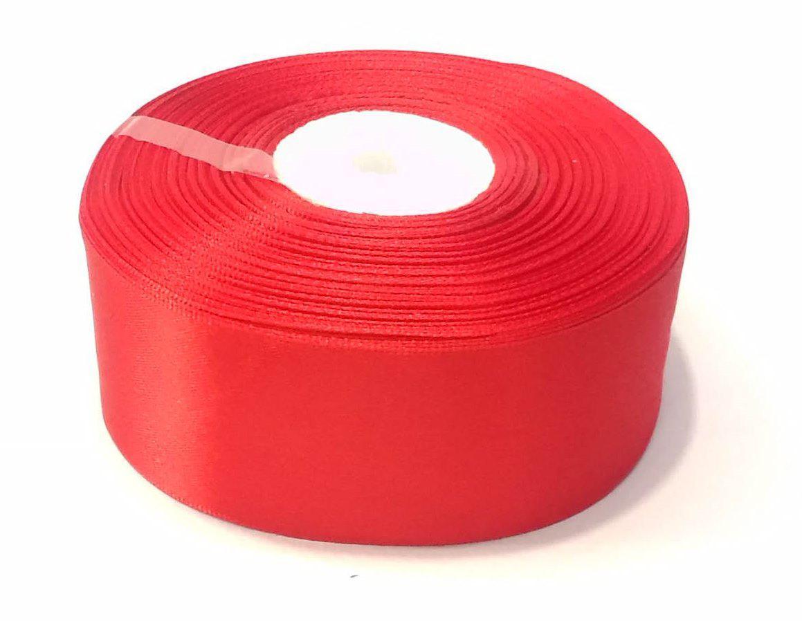 Лента атласная 4 см красная 46 м