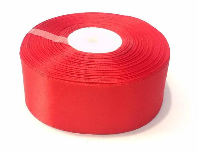 Лента атласная 4 см красная 50 ярд.