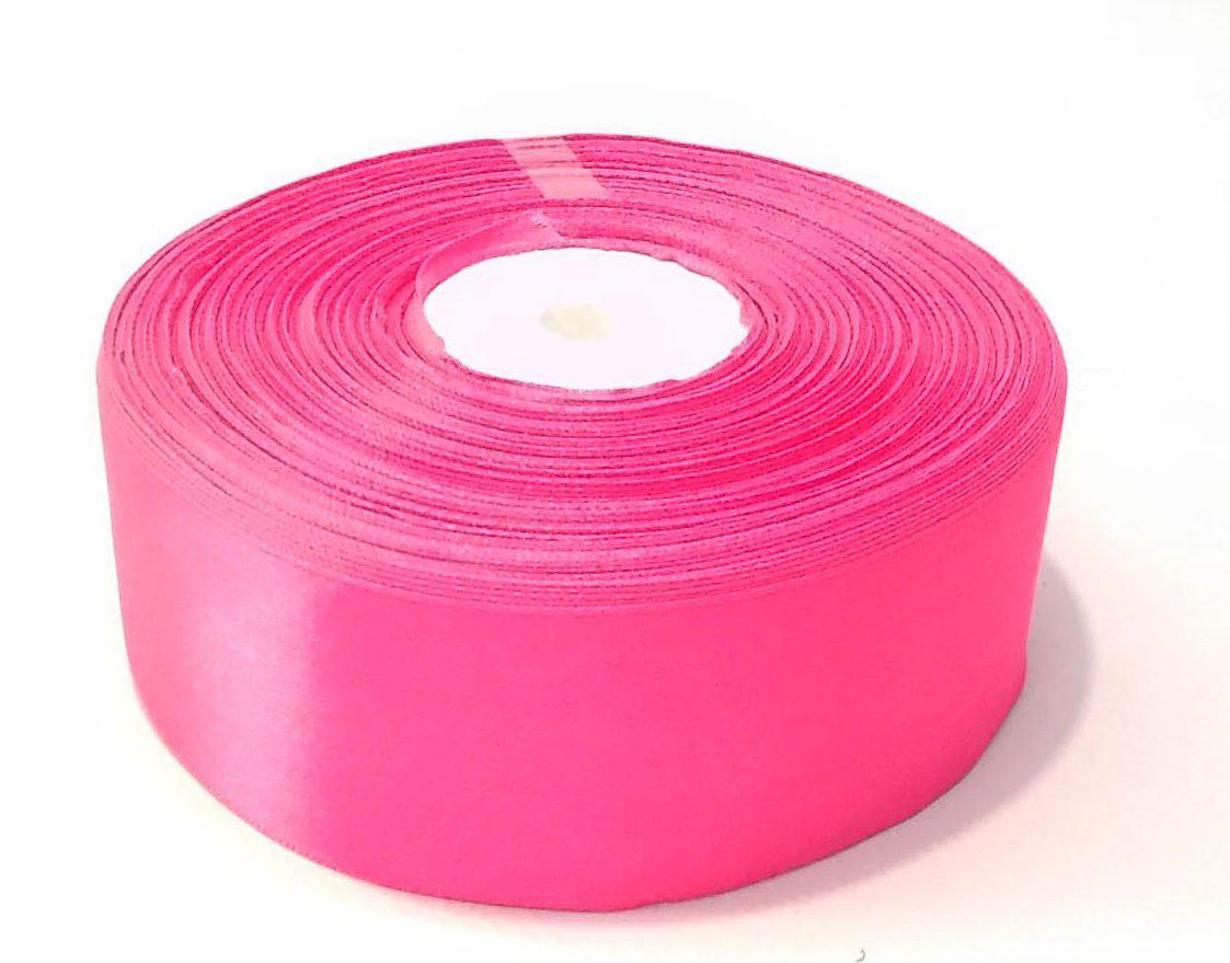 Лента атласная 4 см розовая 46 м