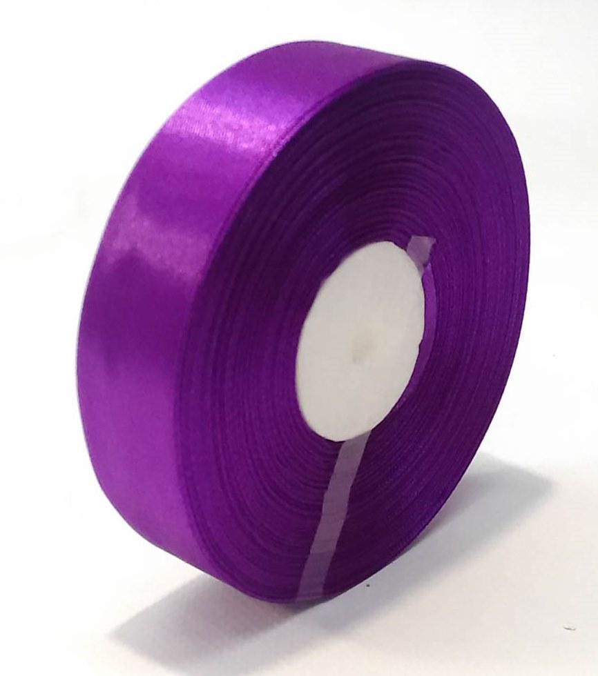Лента атласная 2,5 см фиолетовая 46 м