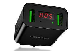 Зарядное устройство USAMS с LED-экраном на два USB-порта