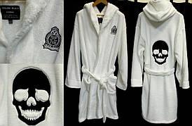 Мужской длинный халат Philipp Plein только белый из натуральных материалов
