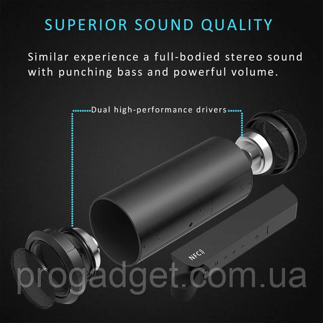 APTOYU Bluetooth 4.0 беспроводная колонка с кристалльно чистым звуком глубоким бассом и повербанком в 3.6 Ач!