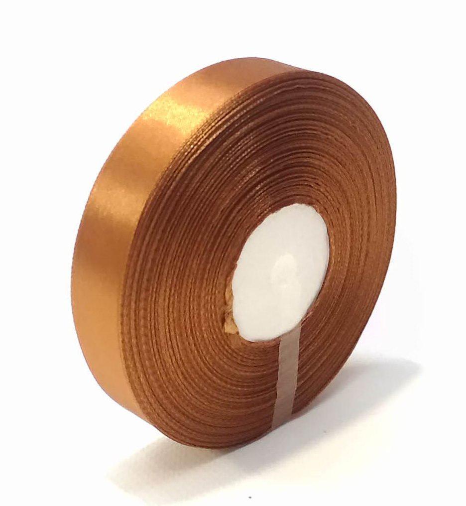 Лента декоративная атласная 2,5 см коричневая 50 ярд.