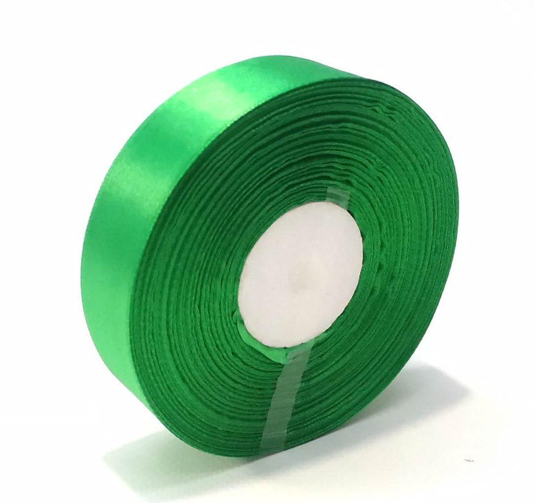 Лента атласная 2,5 см зеленый 50 ярд.