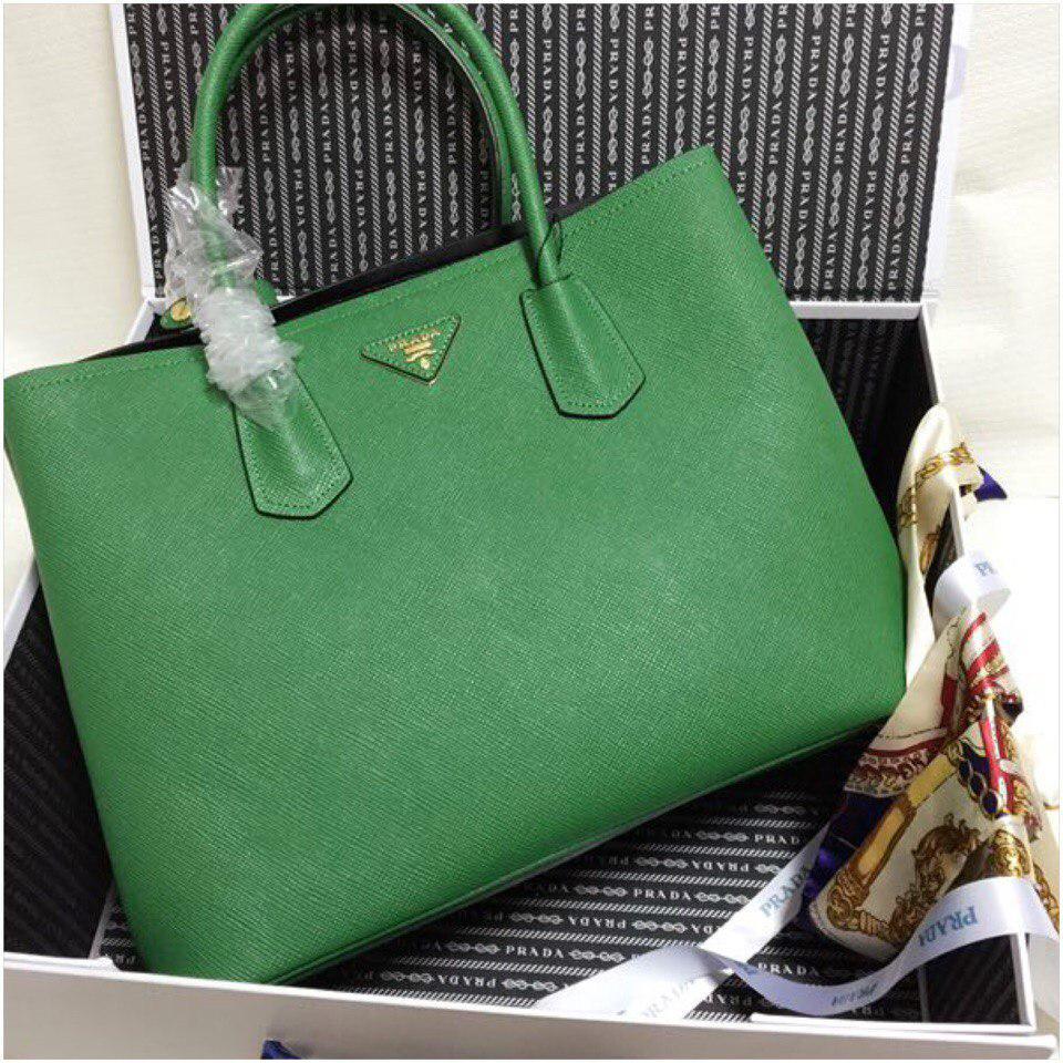 188b5183f626 Сумка Прада модель Double 35 см натуральная кожа цвет зеленый ...