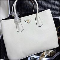 Сумка Прада модель Double 35 см натуральная кожа цвет белый, Люкс копия cd3d450949e