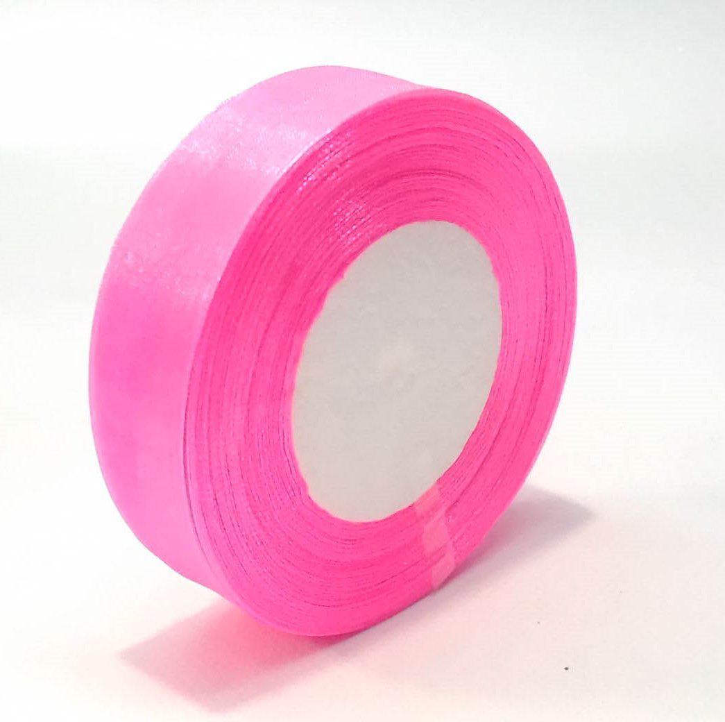 Лента из органзы  2.5 см флористическая розовая 50 ярд.