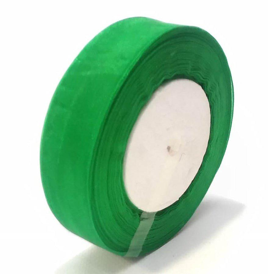 Лента флористическая из органзы  2.5 см зеленый 50 ярд.