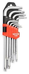 Набор коротких ключей TORX с отверстием T10H-T50H 9 ед. Yato YT-0511