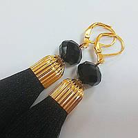 Серьги-кисти черные, шелковые [12 см]