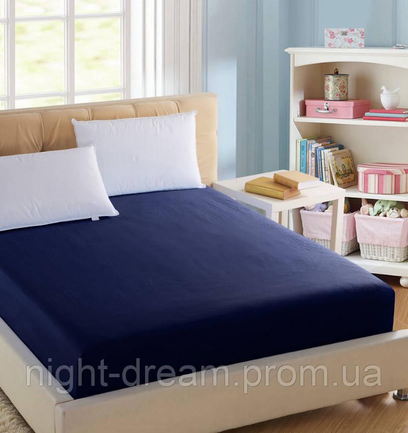 c2404df6a58b Простынь на резинке BOSTON Jefferson Sateen синяя 120х190 - Постельное  белье в интернет-магазине Night