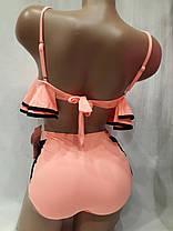 Купальник 5919 Ретро-воланы персиковый на  48 50  размеры. , фото 3