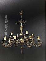 Антикварная бронзовая люстра  светильник старинная люстра