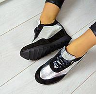 Женские кожаные кроссовки на платформе, фото 1