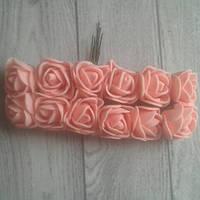 Роза з фоамірану 2-2,5см  персиковий колір