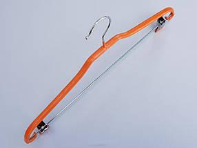 Плечики вешалки тремпеля   металлический в силиконовом покрытии костюмный оранжевого цвета, длина 41,5 см, фото 3