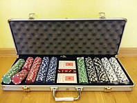 Подарочный набор для игры в покер 500 фишек в алюминиевом кейсе