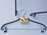 Плечики вешалки тремпеля   металлический в силиконовом покрытии костюмный серого цвета, длина 41,5 см